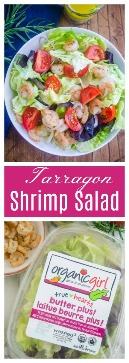 #ad Tarragon Shrimp Salad is loaded with tender butter lettuce, shrimp, tomatoes and shallots tossed in a tarragon vinaigrette.  It's a perfect summer lunch!