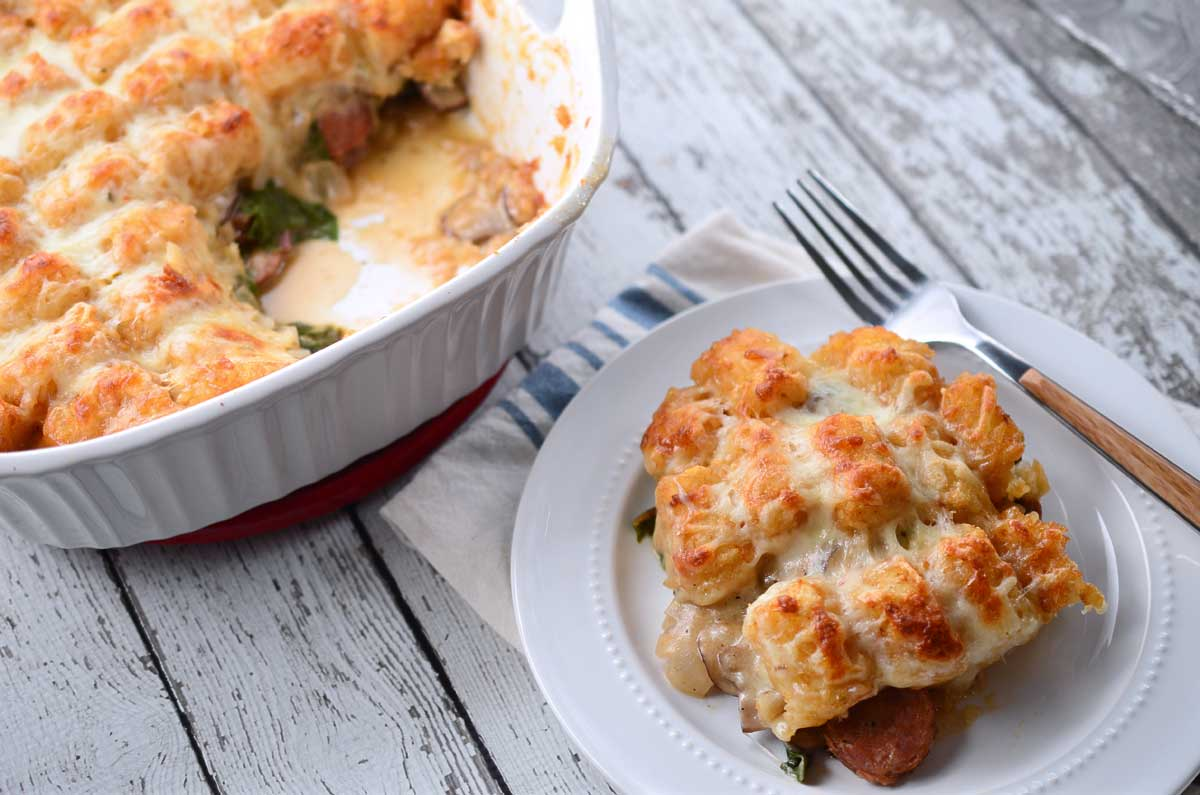 Andouille and Chard Tater Tot Casserole