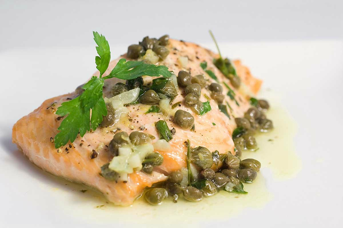 Baked Salmon Recipe with Lemon Caper Butter