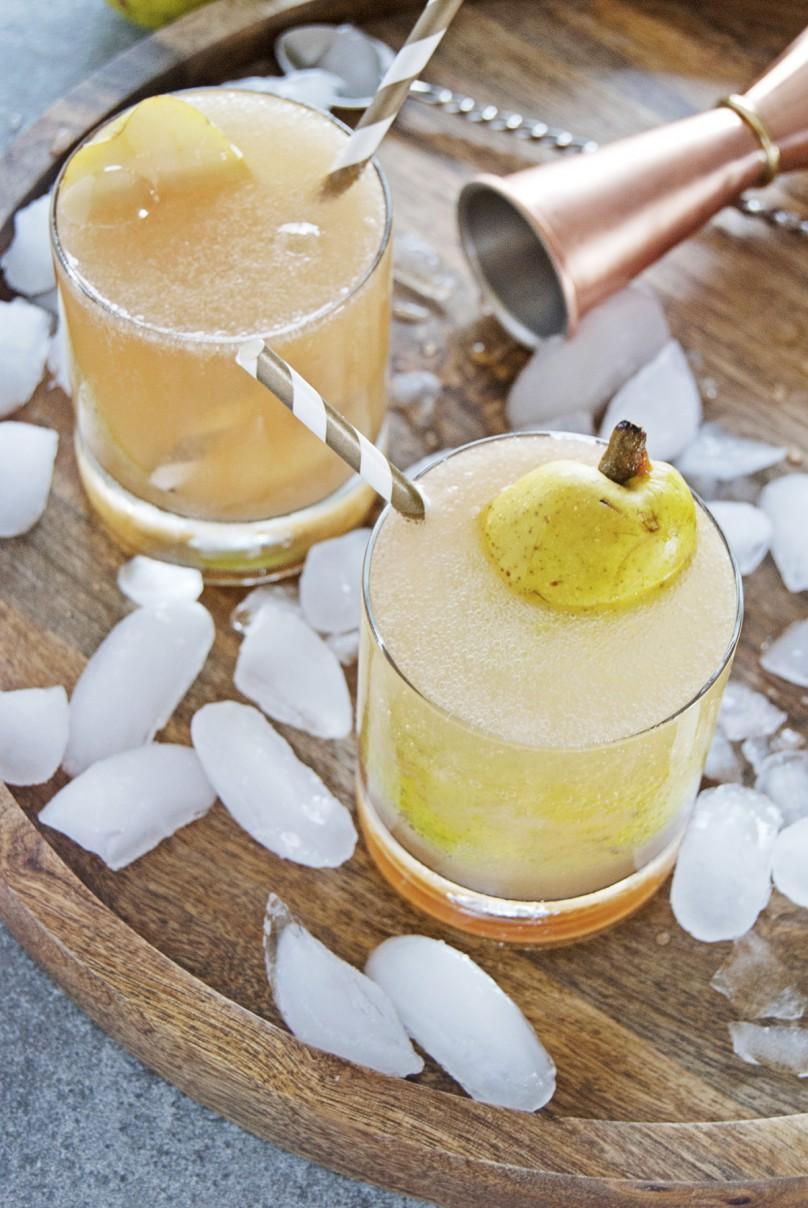 Cardamom Pear Spritzer Cocktail