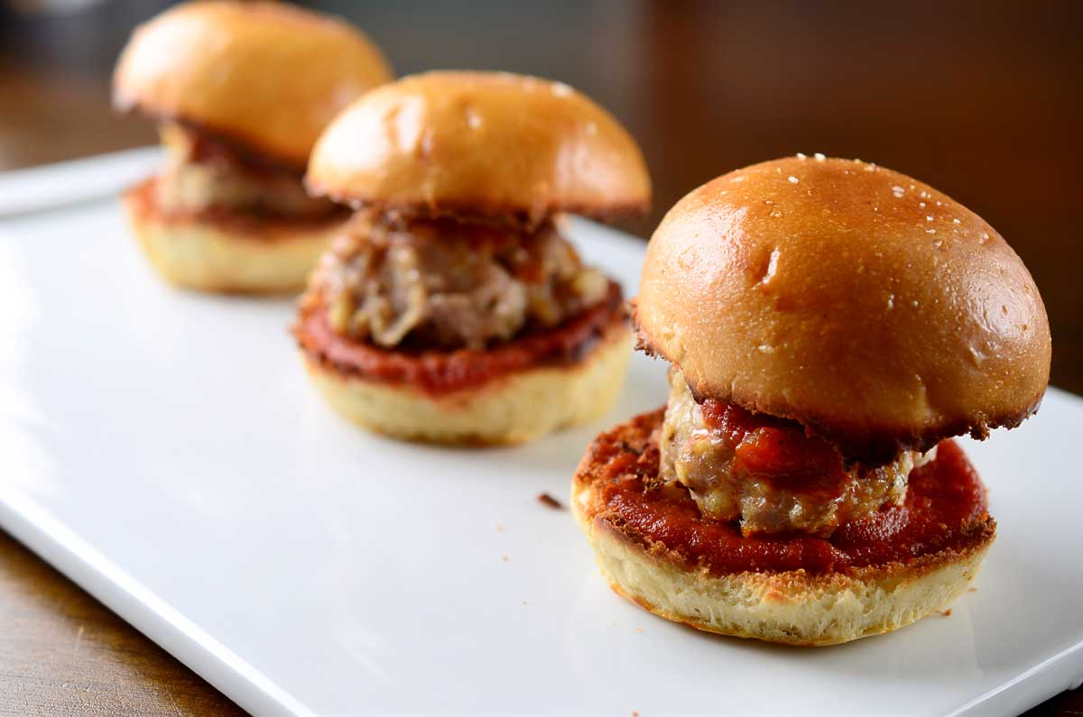 Chicken Parmesan Meatball Sliders