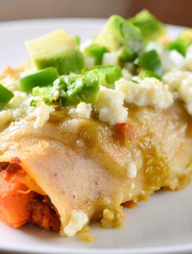 Chorizo and Sweet Potato Enchiladas