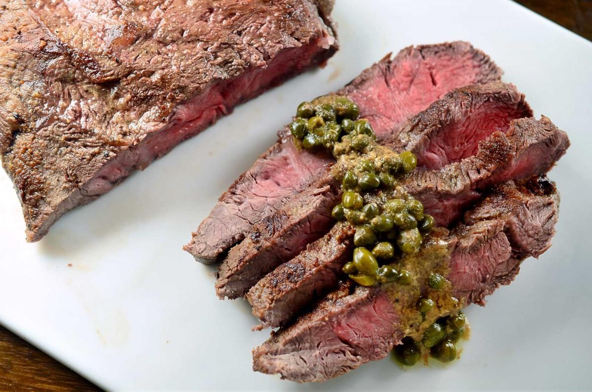 Flat Iron Steak with Dijon Caper Sauce