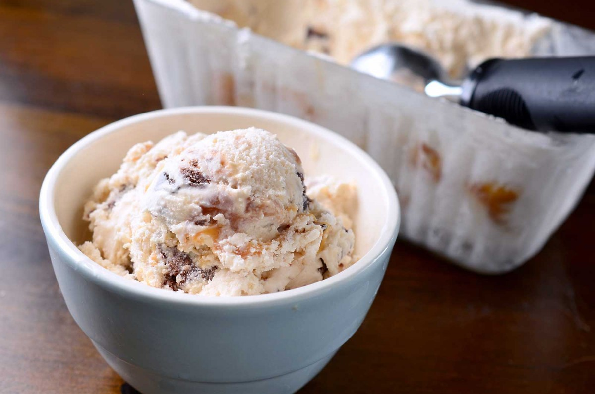 Fudgy Brownie Cookie and Caramel Swirl Ice Cream