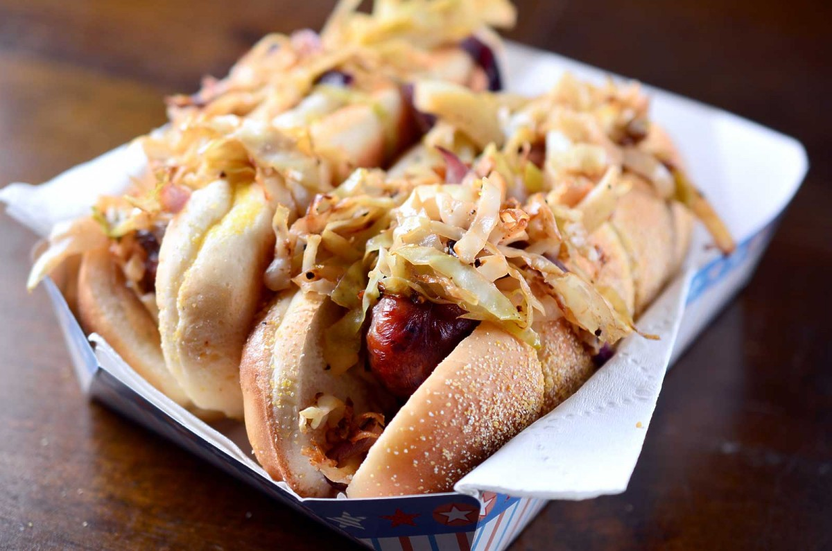 Grilled Brats with Warm Cabbage Slaw