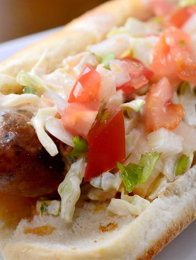 Grilled Bratwurst with Spicy Slaw