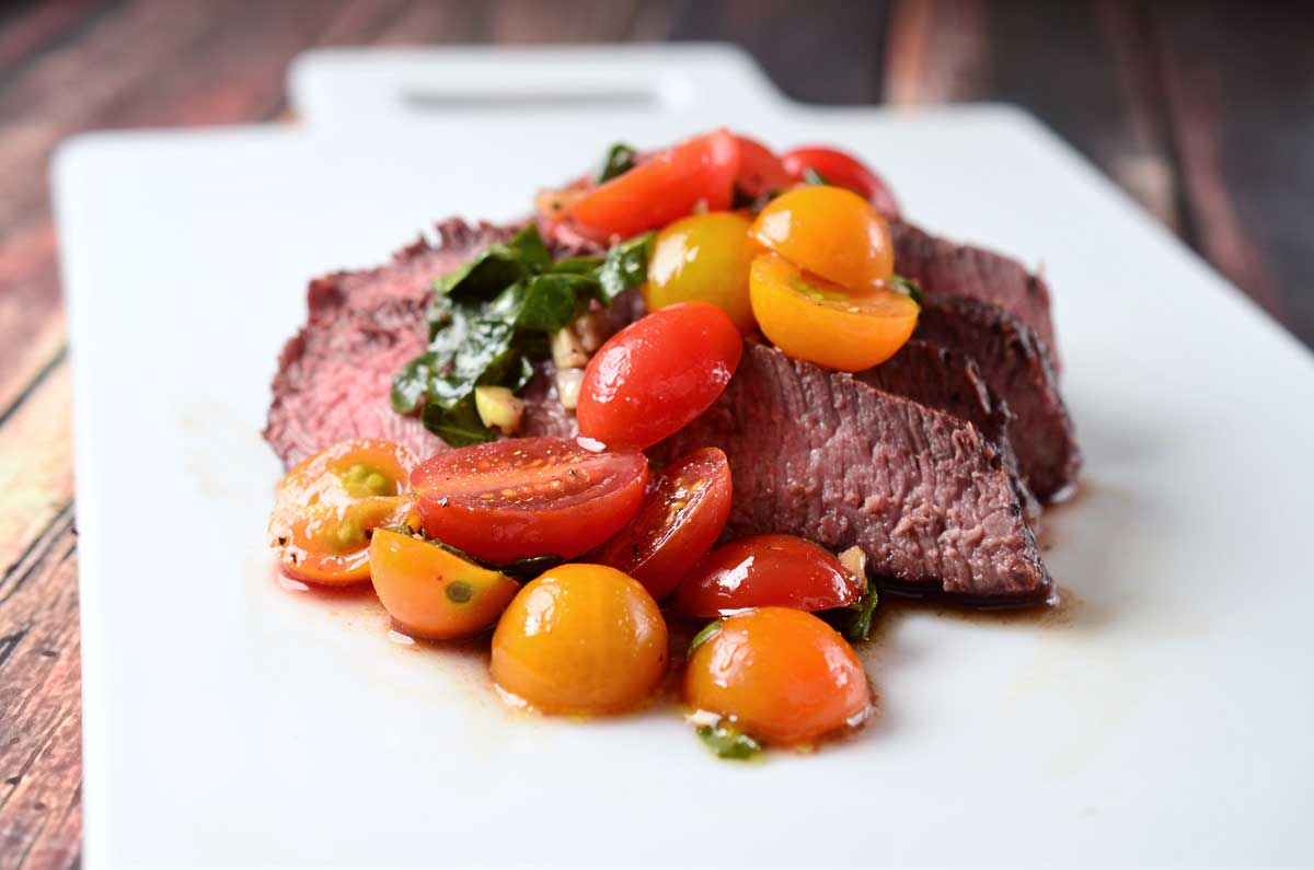 Grilled Flat Iron Steak with Tomato Salad