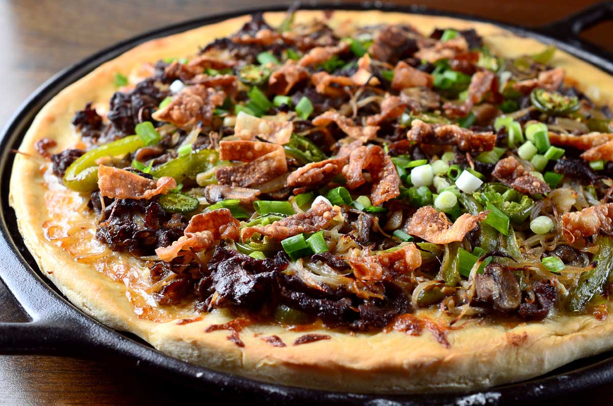 ... is actually no bbq sauce on this pizza this mongolian bbq pizza gets