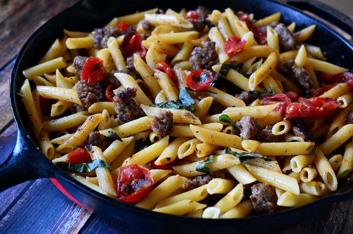 Penne with Sausage and Roasted Tomatoes