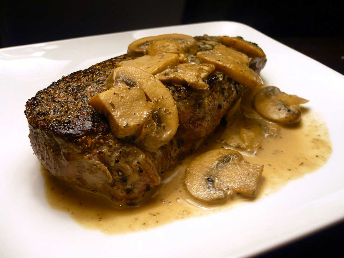 Peppercorn Crusted Top Sirloin with Mushroom Cream Sauce