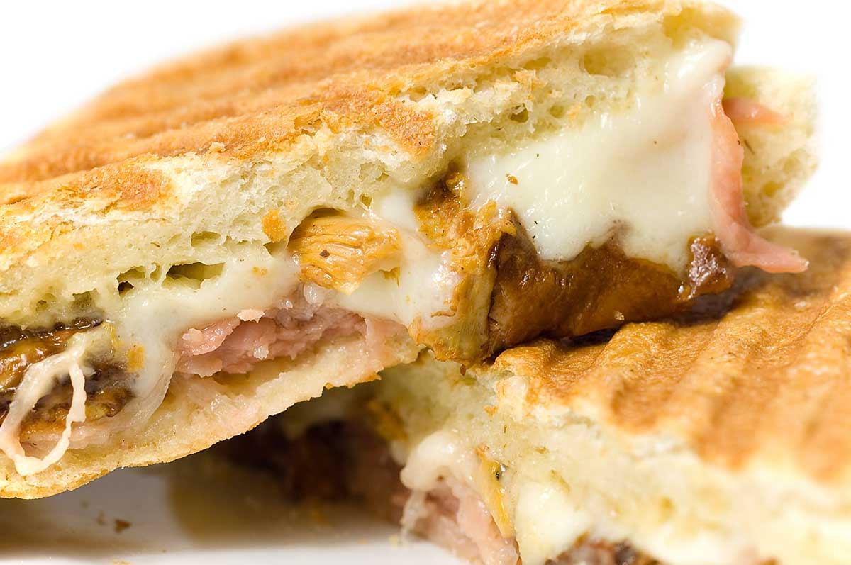 Prosciutto, Chanterelle Mushrooms and Mozzarella Panini