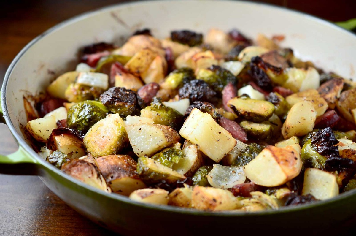 Roasted Brussels Sprouts, Potatoes and Kielbasa