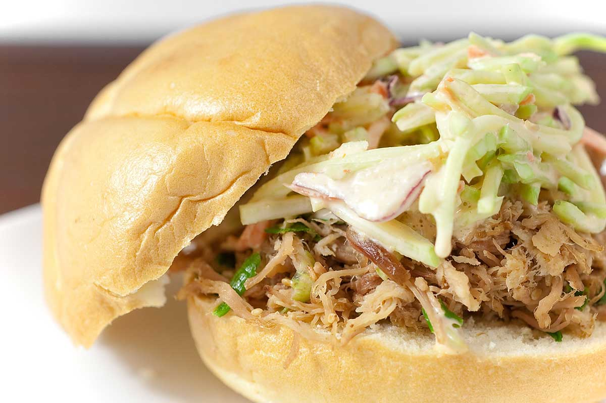 Sesame Pork Sandwiches with Sriracha Slaw
