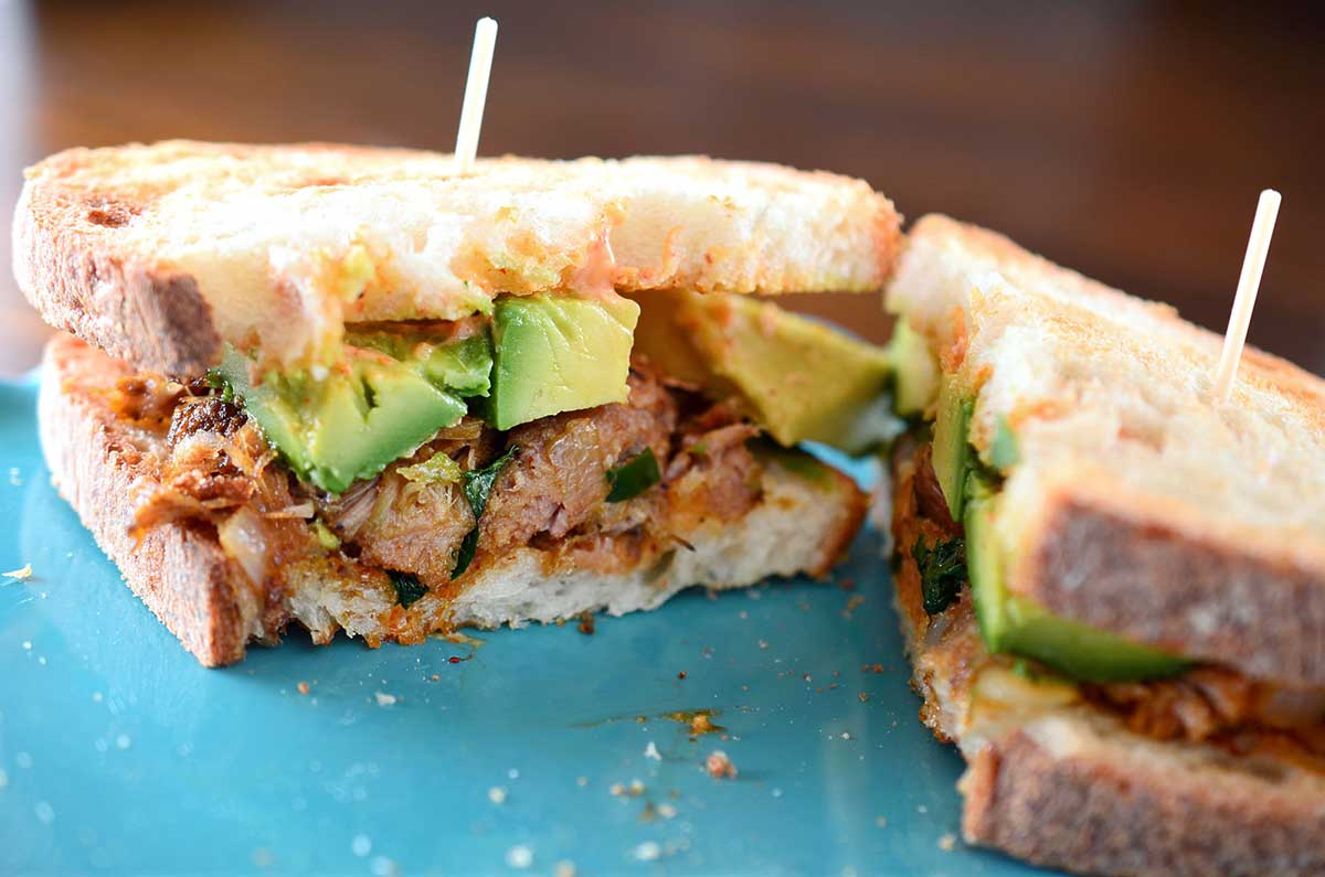 Spiced Pulled Pork and Avocado Sandwich