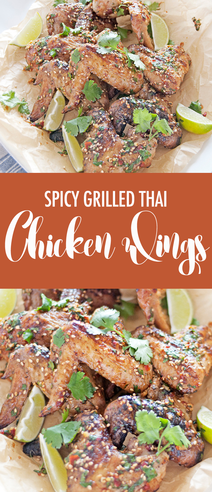These Thai chicken wings are perfect for those warm summer grilling nights, and feature a beautifully spicy Thai sauce and lots of fresh cilantro!
